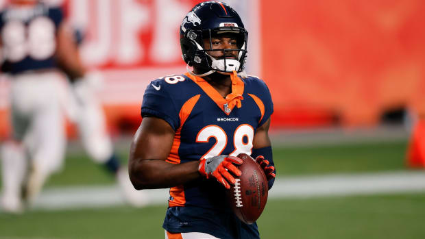 Denver Broncos running back Royce Freeman (28) before the game against the Tennessee Titans at Empower Field at Mile High.