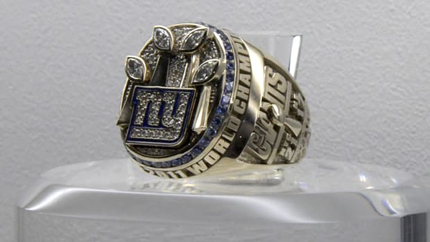 Feb 2, 2019; Atlanta, GA, USA; Detailed view of Super Bowl XLVI ring to commemorate the New York Giants 21-17 victory over the New England Patriots at Lucas Oil Stadium in Indianapolis, Ind. on Feb 15, 2012.
