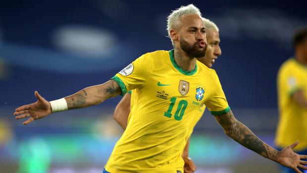 Neymar celebrates against Peru.