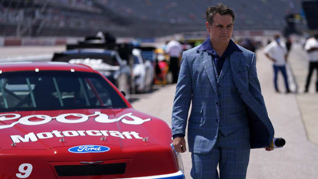 May 9, 2021; Darlington, South Carolina, USA; Fox Sports analyst and former NASCAR driver Jeff Gordon walks on pit road prior to the Goodyear 400 at Darlington Raceway.