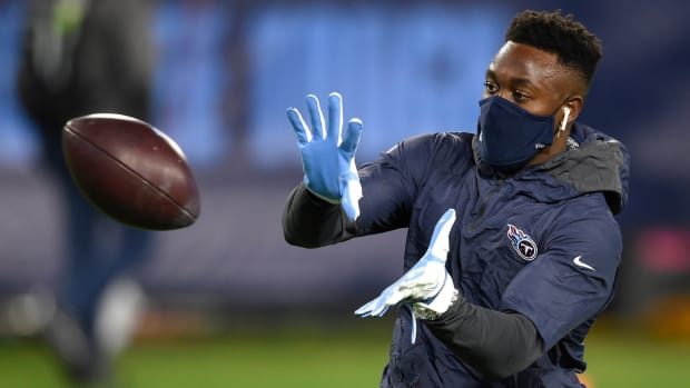 Tennessee Titans defensive back Joshua Kalu (46) warms up before the game against the Indianapolis Colts at Nissan Stadium Thursday, Nov. 12, 2020 in Nashville, Tenn.