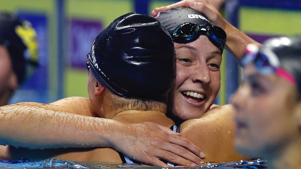 Brooke Forde and Katie Ledecky of the United States react after competing in the Women's 200m freestyle final during Day Four of the 2021 U.S. Olympic Team Swimming Trials