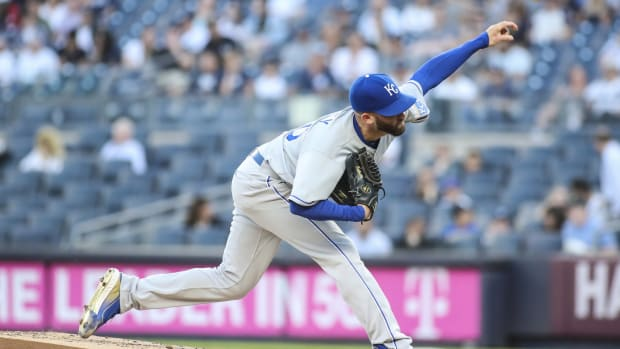 Jun 23, 2021; Bronx, New York, USA; Kansas City Royals pitcher Danny Duffy (30) pitches in the first inning against the New York Yankees at Yankee Stadium. Mandatory Credit: Wendell Cruz-USA TODAY Sports