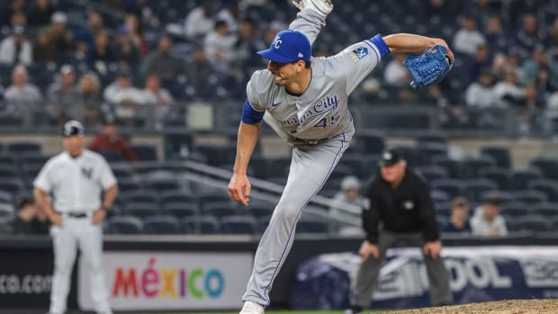 Jun 22, 2021; Bronx, New York, USA; Kansas City Royals relief pitcher Kyle Zimmer (45) delivers a pitch during the eighth inning against the New York Yankees at Yankee Stadium. Mandatory Credit: Vincent Carchietta-USA TODAY Sports