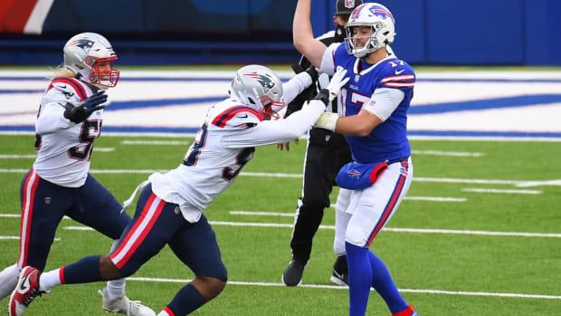 Josh Uche hits Josh Allen
