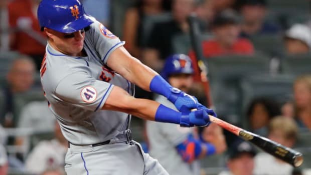 Mets catcher James McCann got the team's biggest hit of the season in a 4-3 comeback win over the Braves on Tuesday night.
