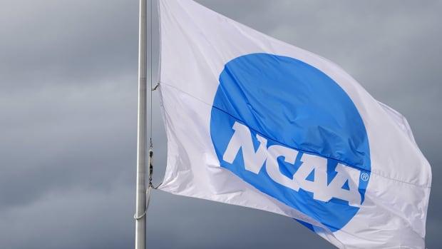 NCAA logo on a flag.