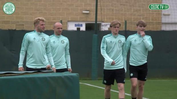 Ange Postecoglou takes charge of Celtic training