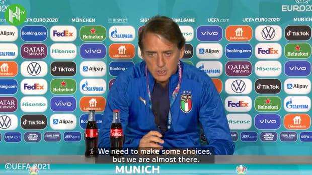 Mancini pleased to face top-ranked Belgium