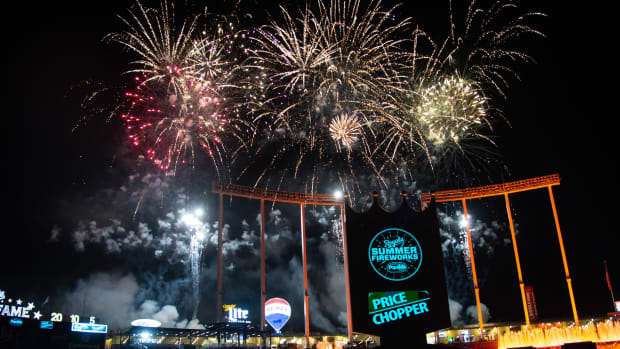 Jul 3, 2019; Kansas City, MO, USA; Fireworks display after the game between the Kansas City Royals and the Cleveland Indians at Kauffman Stadium. Mandatory Credit: Steven Branscombe-USA TODAY Sports