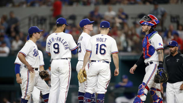 Jul 5, 2021; Arlington, Texas, USA; Texas Rangers relief pitcher Kolby Allard (39) on the mound with his teammates in the sixth inning against the Detroit Tigers at Globe Life Field.