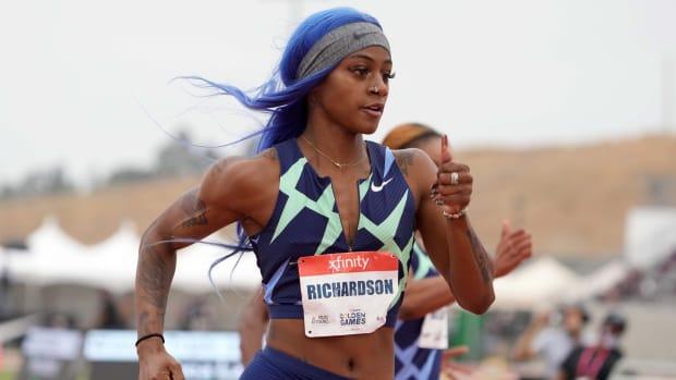 Sha'Carri Richardson (USA) wins women's 100m heat in 10.74 during the USATF Golden Games at Hilmer Lodge Stadium.