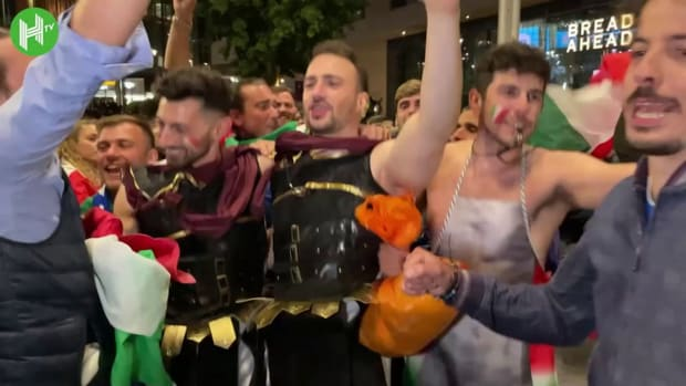Italy fans celebrate outside Wembley after reaching Euro 2020 Final