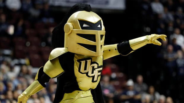 Mar 11, 2019; Uncasville, CT, USA; The UCF Knights mascot performs during a timeout in the second half during in the women's American Conference Tournament against the UConn Huskies at Mohegan Sun Arena. UConn defeated UCF 66-45.