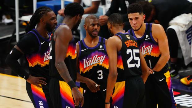 Phoenix Suns' starting five: Jae Crowder, Deandre Ayton, Chris Paul, Mikal Bridges, Devin Booker