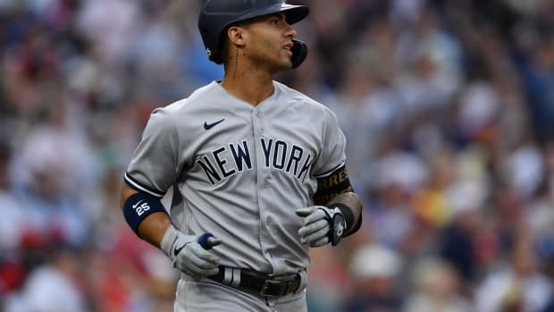 Yankees SS Gleyber Torres reacts to out