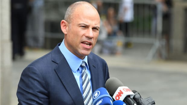 Attorney Michael Avenatti leaves court and addresses the media on May 30, 2018 in a case brought by Michael Cohen, President Donald Trump's longtime personal lawyer, to limit prosecutors' review of documents seized from his home and office