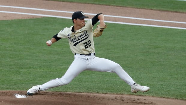 Jun 28, 2021; Omaha, Nebraska, USA; Vanderbilt Commodores pitcher Jack Leiter (22) throws against the Mississippi State Bulldogs in the first inning at TD Ameritrade Park.