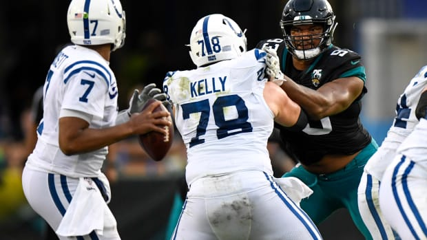 Dec 29, 2019; Jacksonville, Florida, USA; Jacksonville Jaguars defensive end Calais Campbell (93) rushes the passer as Indianapolis Colts center Ryan Kelly (78) defends during the second quarter at TIAA Bank Field.
