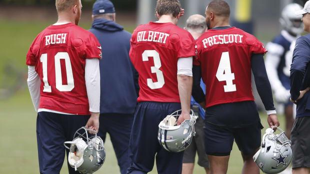 Dallas Cowboys quarterbacks during OTAs