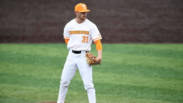 Tennessee's Jackson Leath pitches against UNC Asheville in the NCAA baseball game on Wednesday, February 26, 2020.