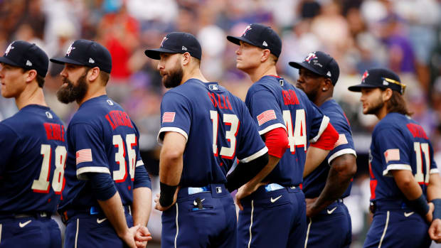 Jul 13, 2021; Denver, Colorado, USA; American League outfielder Joey Gallo of the Texas Rangers (13) and fellow American League All Stars watch as the lineups are announced before the 2021 MLB All Star Game at Coors Field.