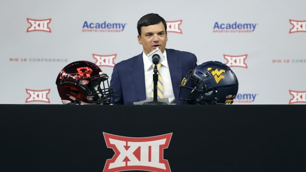 Jul 14, 2021; Arlington, TX, USA; West Virginia Mountaineers head coach Neal Brown speaks to the media during Big 12 media days at AT&T Stadium.