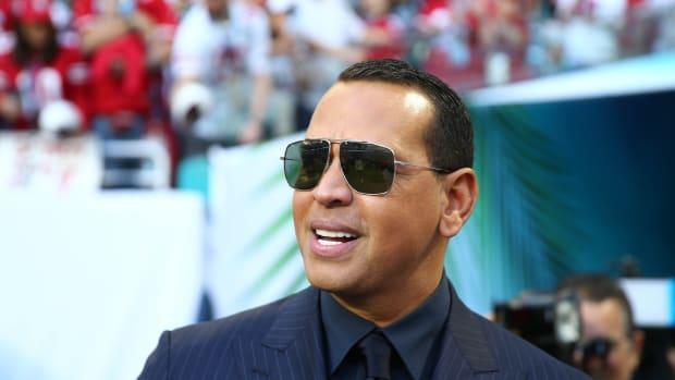 Former Yankees star Alex Rodriguez smiling at Super Bowl