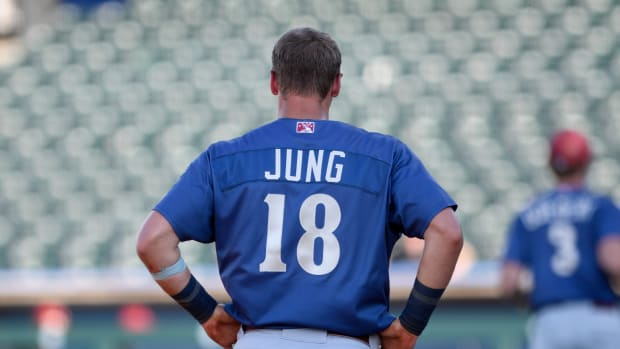 Frisco Rough Riders' Josh Jung stands on third base, Wednesday, June 16, 2021, at Whataburger Field. Rough Riders won, 8-4.