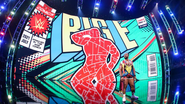 Big E appears on stage before a WWE event