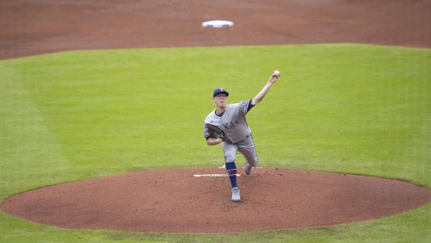 Jul 18, 2021; Buffalo, New York, CAN; Texas Rangers pitcher Kolby Allard (39) delivers a pitch during the first inning against the Toronto Blue Jays at Sahlen Field.