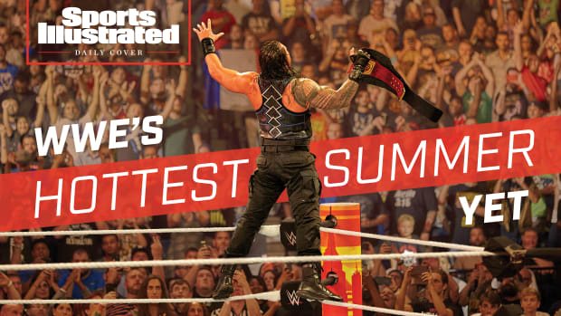 """Daily Cover image: Roman Reigns faces a raucous crowd. Text reads """"WWE's Hottest Summer Yet"""""""