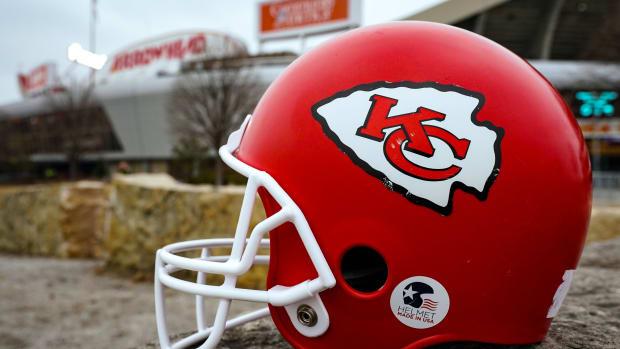 Jan 24, 2021; Kansas City, Missouri, USA; A general view of a Kansas City Chiefs helmet before the AFC Championship Game against the Buffalo Bills at Arrowhead Stadium.