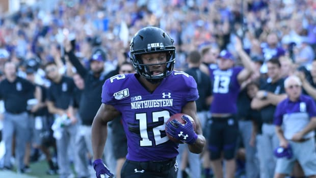 Northwestern Wildcats wide receiver JJ Jefferson (12) scores a touchdown against the UNLV Rebels during the second half at Ryan Field. David Banks-USA TODAY Sports.