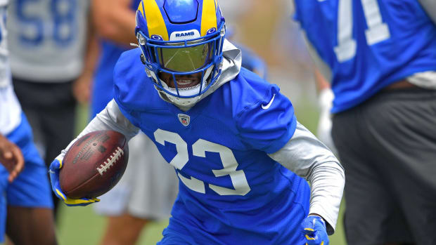 Jun 8, 2021; Thousand Oaks, CA, USA; Los Angeles Rams running back Cam Akers (23) participates in drills during mini camp held at the practice facility at Cal State Lutheran. Mandatory Credit: Jayne Kamin-Oncea-USA TODAY Sports
