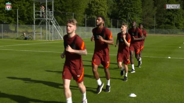 Konaté, Van Dijk and Salah in Liverpool pre-season training