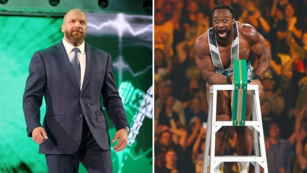 Split image of Triple H and Big E