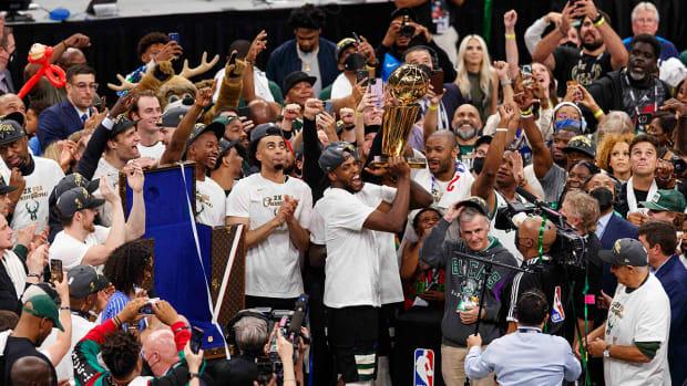 Milwaukee Bucks celebrate their championship win.
