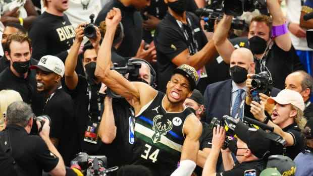 Milwaukee Bucks forward Giannis Antetokounmpo (34) celebrates after game six of the 2021 NBA Finals against the Phoenix Suns at Fiserv Forum.