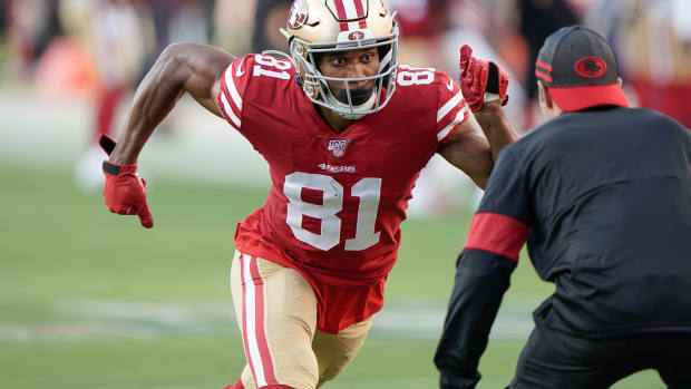 Aug 29, 2019; Santa Clara, CA, USA; San Francisco 49ers wide receiver Jordan Matthews (81) warms up before the game against the Los Angeles Chargers at Levi's Stadium. Mandatory Credit: Stan Szeto-USA TODAY Sports
