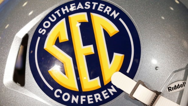 SEC football helmet with conference logo