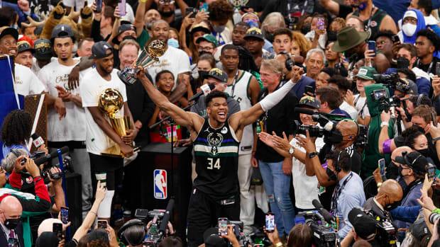 Giannis Antetokounmpo celebrated his first NBA title.