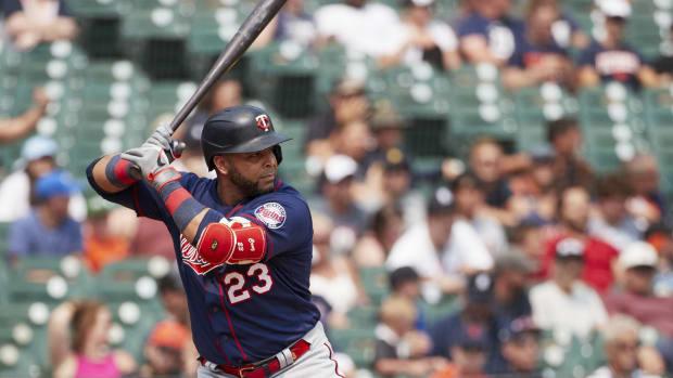 Jul 18, 2021; Detroit, Michigan, USA; Minnesota Twins designated hitter Nelson Cruz (23) at bat against the Detroit Tigers at Comerica Park.