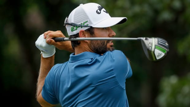 Adam Hadwin hits on the 5th tee during the second round of the 3M Open golf tournament.