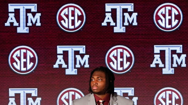 Texas A&M offensive lineman Kenyon Green takes questions on stage in the Hyatt Regency during SEC Media Days in Hoover, Ala., Wednesday, July 21, 2021.