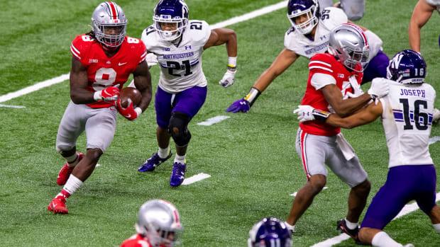 Ohio State Buckeyes running back Trey Sermon (8) during the second half of a Big Ten Championship game at Lucas Oil Stadium. Ohio State won 22-10. Doug McSchooler (FLO)-USA TODAY Sports