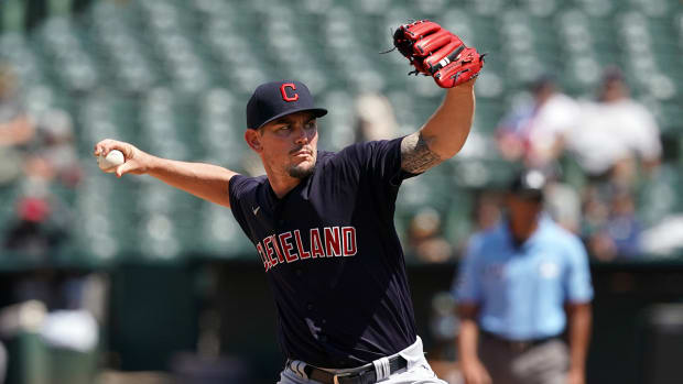 Nick Wittgren pitching for Cleveland.