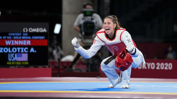 Jul 25, 2021; Chiba, Japan; Anastasija Zolotic (USA) celebrates after winning gold in women's 57kg taekwondo during the Tokyo 2020 Olympic Summer Games at Makuhari Messe Hall A.