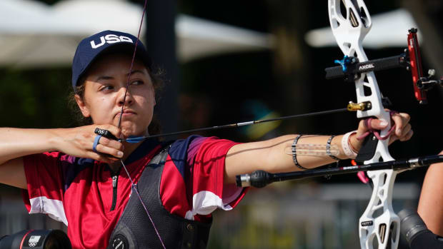 Jennifer Mucino-Fernandez (USA) competes in the archery ranking round during the Tokyo 2020 Olympic Summer Games at Yumenoshima Archery Field.