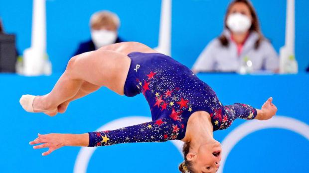 July 25: Grace McCallum competes on the floor in the women's gymnastics qualifications / © Danielle Parhizkaran via Imagn Content Services, LLC
